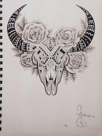 J'aurais mis 5 heures pour celui ci ! #tattoo#crâne#taureau#rose