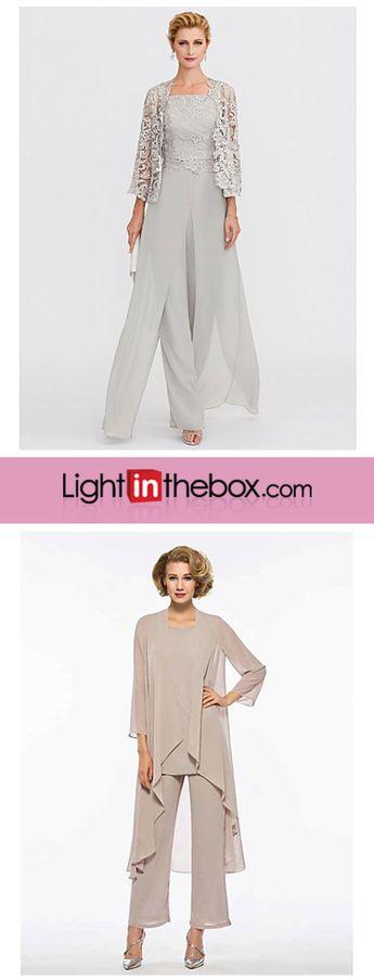 Pantsuit / Jumpsuit Straps Floor Length Chiffon / Corded Lace Mother of the Bride Dress with Appliques / Lace / Split Front by LAN TING BRIDE®