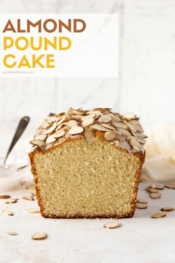 This easy, make-ahead Almond Pound Cake recipe is made with almond paste and topped with an almond glaze and extra sliced almonds for a rich, nutty flavor in every bite. #poundcake #dessertrecipe #almond