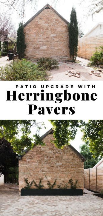 Time to update your patio!? You will love this upgrade from mismatched uneven grossness to herringbone gorgeousness! And the best part, the pavers are from Home Depot!! SERIOUSLY! - Vintage Revivals #patio #pavers