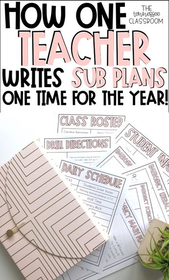 Emergency sub plan template that only needs to be prepped one time for the entire year. Great sub plans for elementary classrooms. Teachers love these easy sub plans!