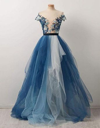 4028e7c253c Stylish A-Line Off-The-Shoulder Tulle Long Prom Dress With Appliques