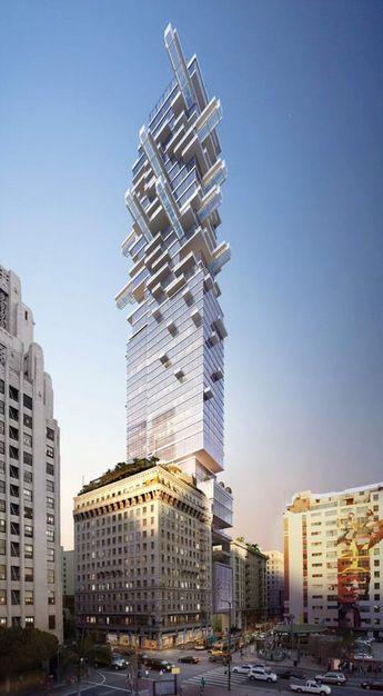 Arquitectonica designs a 53-story Jenga-like tower near LA's Pershing Square