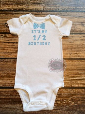 Half Birthday Onesie 1 2 Personalized Bow Tie Shirt 1st