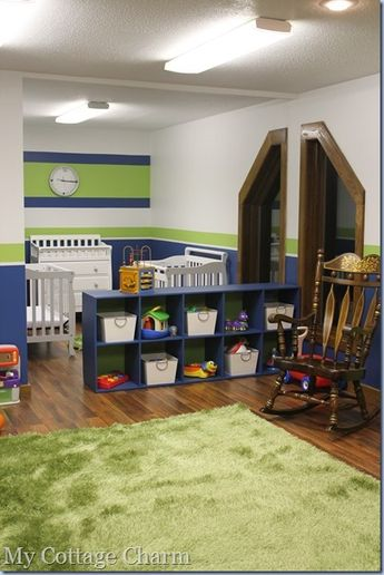 They have a baby and sleeping area sectioned off by shelves- that face the rest of the nursery to store toys, or facing in for diaper and baby stuff storage. @Jenni Pezley