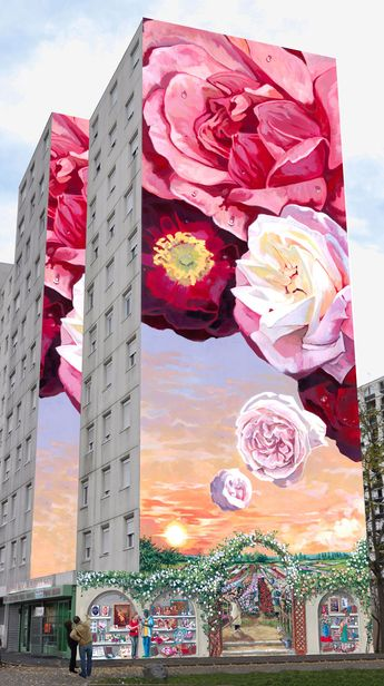 I wanted to share this beautiful and creative street art with you dear friends. It is awsome that how amazingly the artist transforms those cold looking concrete buildings into a rose garden! xoxo ❤ ~Tomris 03/11/17
