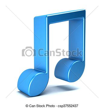 Musical Noteisolated in white background. 3D rendering illustration - csp37552437