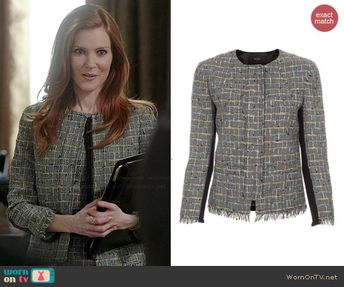 0045825ad880e9 Abby's grey tweed jacket and dress with black back on Scandal