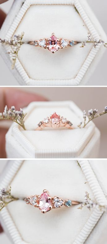 Pear peach sapphire cluster five stone engagement ring, 14k gold peach ring, cluster engagement ring, alternative engagement, fairytale