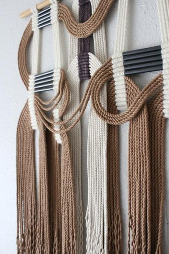 "Woven rope art ""tff+wht"" macrame wall hanging, wall art, fiber art, cotton rope"