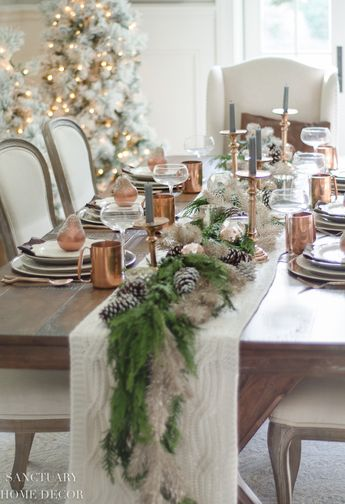 A Neutral Christmas Tablescape With Copper Accents