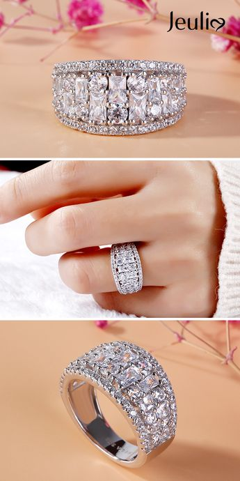 Vintage Wedding Band For Women Baguette & Round Cut Diamond White Jeulia Stone Sterling Silver