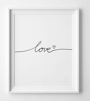 Chambre d'enfant imprimable, art citation « Amour » minimaliste muraux, sticker imprimable, noir et blanc chambre d'enfant, aime poster, impression noir et blanc