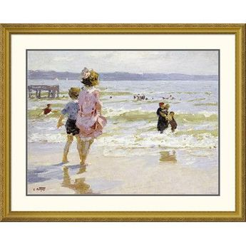 Global Gallery 'At The Seashore' by Edward Henry Potthast Framed Painting Print