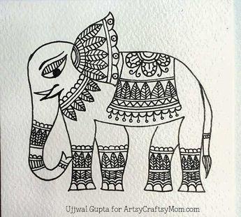 Easy Madhubani Elephant Bookmark Craft for Kids