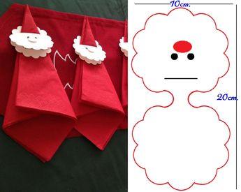 Porte serviette Papa Noël.  J'ai fais des découpages comme ce modèle.  Je plie puis je fais une fente sur la partie supérieure pour pouvoir glisser la serviette dans la tête. La première partie sert à faire la tête, et celle du dessous à marquer le prénom.