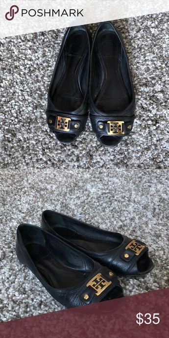 f170f8a151af I just added this listing on Poshmark  Tory Burch  Black Peep Toe Flats.