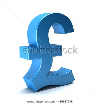 Pound currency icon. 3D rendering illustration