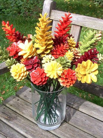 Fall Pine Cone Flowers, ONE DOZEN, on 12-inch stems. Thanksgiving Decor. High-quality. Painted pretty fall colors. Autumn