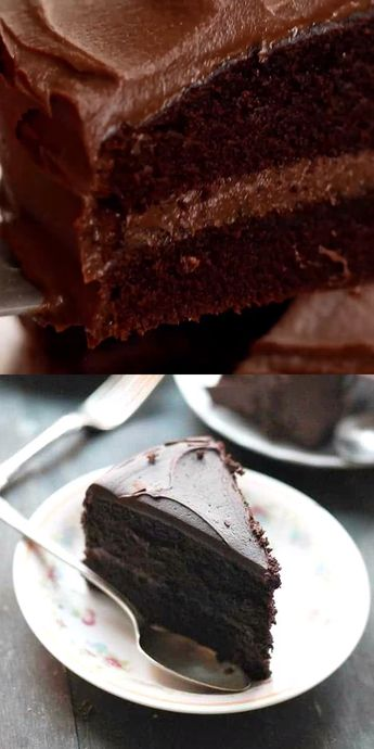 Black Magic Chocolate Cake – This is my go-to chocolate cake recipe. Moist, rich, and delicious dark chocolate cake that's perfect for the Holidays, or any other occasion! #chocolatecake #valentinesday #desserts #chocolate