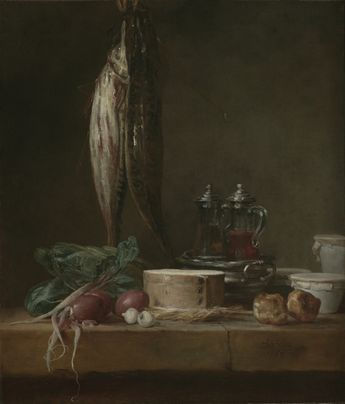Still Life with Fish, Vegetables, Gougères, Pots, and Cruets on a Table -- Jean-Siméon Chardin (French, 1699 - 1779) -- 1769 -- Oil on canvas -- 68.6 x 58.4 cm (27 x 23 in.)