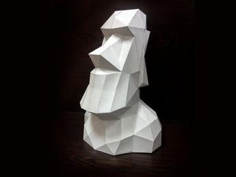 Printable Paper Model Of Moai 3D Papercraft Model - Download PDF Template - DIY Decoration