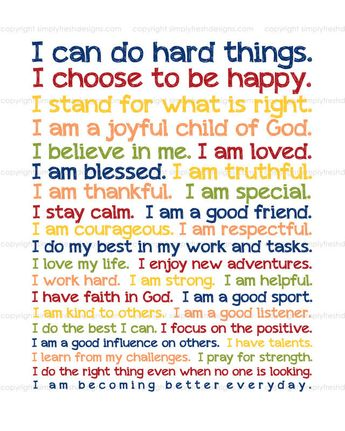 Empowering Statements for Children of all ages - Instant Download