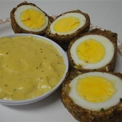 Scotch Eggs with Mustard Sauce- Sinfully decadent. These are reported to be even better than the ones you can get in the UK.