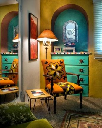"""Benjamin Moore Color...""""green coral."""" Colorful room with southwest color scheme...vibrant yellow with the turquoise is stunning."""