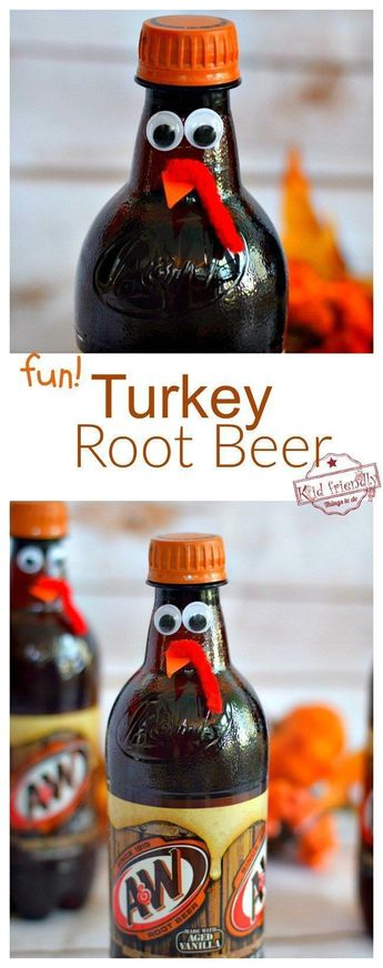 Fun Turkey Root Beer Thanksgiving Drink - Cute Fun Food Craft for the Table