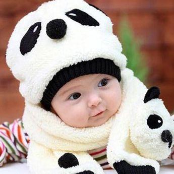 Super cute panda cap & scarf