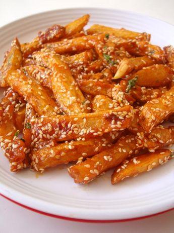 Sesame Honey Chilli Potatoes, Honey Chili Potatoes Recipe