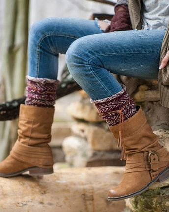 730a50f56 Tahoe Tassel Boho Boot Socks Beige   Burgundy Slouch Top Over The Knee Thick  Waffle Knit