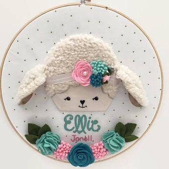 Custom Nursery Hoop Art Newborn Name Hoop Art by SewInLoveHandmade