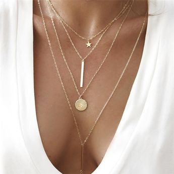 Women's Coin Bar Chain Necklace Y Necklace Layered Necklace Star Ladies Bohemian European Fashion Cool Lovely Gold 40 cm Necklace Jewelry 1pc For Party / Evening Gift / Long Necklace