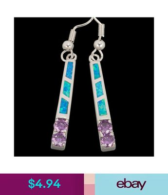 4 94 4mm Round Amethyst Ocean Blue Fire Opal Silver Jewelry Dangle Drop Earrings Ebay