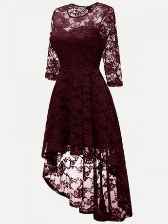 4914af538b7a Vinfemass Elegant Irregular Hem Lace Party Skater Dress
