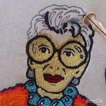Iris Apfel punch needle. #irisapfel #punchneedle