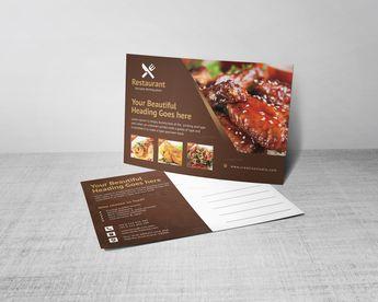 Creative Restaurant Postcard Design Template - Graphic Templates