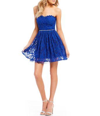 90b285af05 Shop for Jodi Kristopher Strapless Lace Fit-And-Flare Dress at Dillards.com