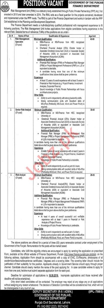 ate Posted: 03 September, 2019 Category: Government Newspaper: Nawaiwaqt Jobs CV / Resume: Upload CV to Apply Job Education: MBA | ACCA | CA | MS | Others Vacancy Location: Lahore, Punjab, Pakistan Organization: Finance Department Job  Industry: Management Jobs Job Type: Temporary Last Date: 16 September, 2019
