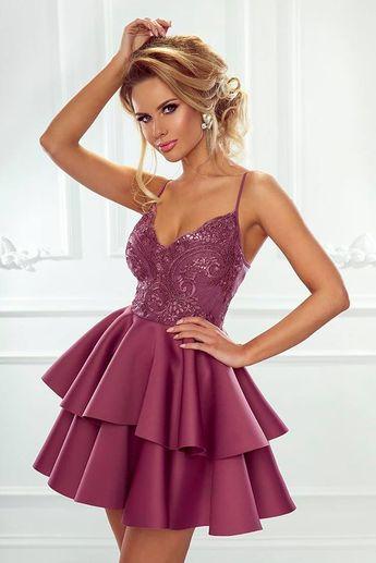 e5d704310b Długa Sukienka z Koronkową Górą Bordowa NU211-2