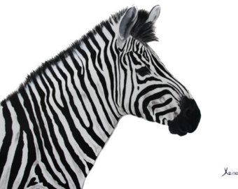 Zebra Acrylic Painting on Canvas, Black and white, Contemporary Art, Modern Art, Fine Art by Xeino, READY TO SHIP