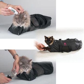 Cat Grooming Nail Clipping Bathing Bath Bag NO BITE SCRATCH Restraint System*NEW  | eBay
