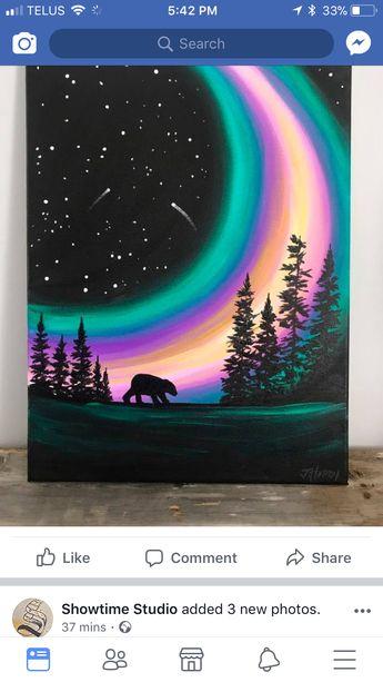 Northern lights /bear painting