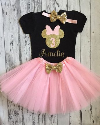 9b9e13e71 Pink and Gold Personalized Minnie Mouse 3rd Birthday Shirt & Tutu, Minnie  Birthday Shirt and