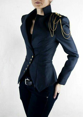 Statement jacket with shoulder chain.