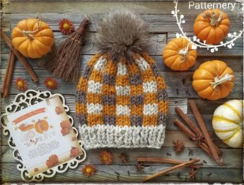 "SUPER BULKY Plaid Hat ""Pumpkin Pie"" Knitting Pattern Pdf. Buffalo Plaid Hat, Variety Rib, Pom Instructions. NB up to Adult sizes in English"