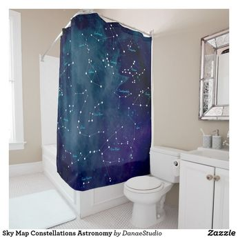 Sky Map Constellations Astronomy Shower Curtain | Zazzle.com