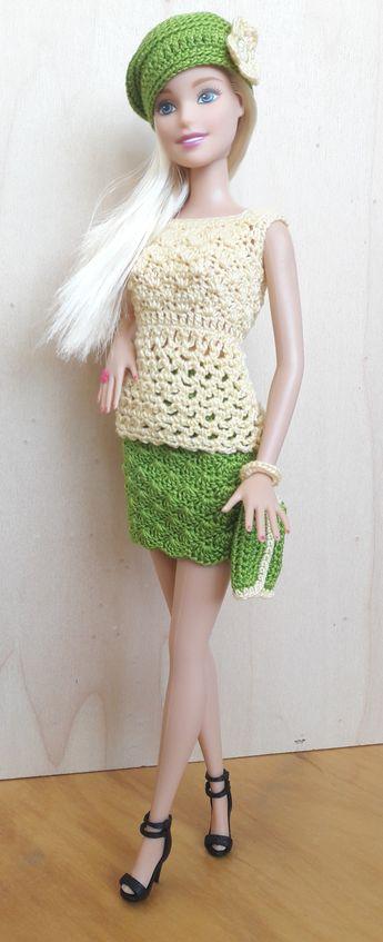 Puppenkleidung Barbiesteffi Kleid Gehäkelt Hellbeige
